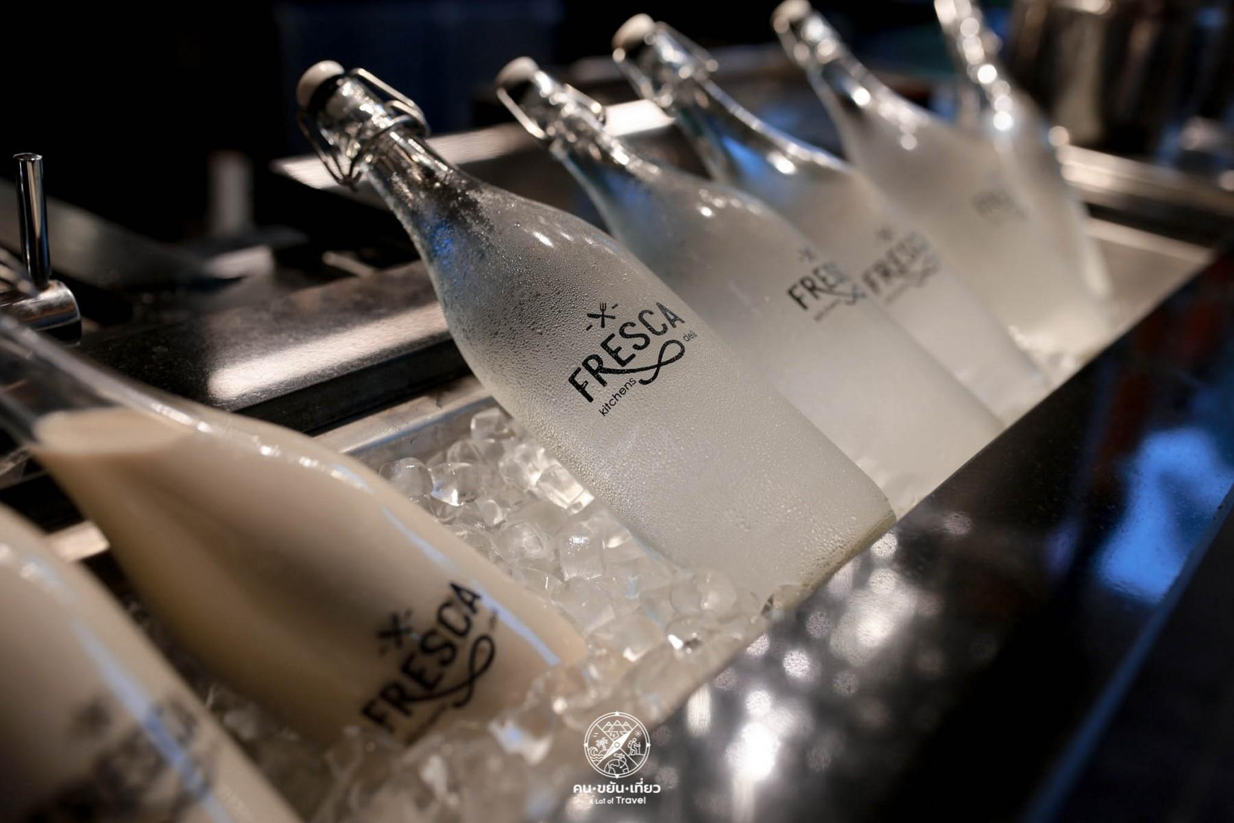 Mineral water at Fresca Restaurant