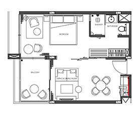 Floorplan : 1 Bedroom Suite