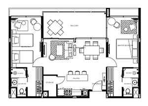 Floorplan : ห้องสวีท 2 ห้องนอน