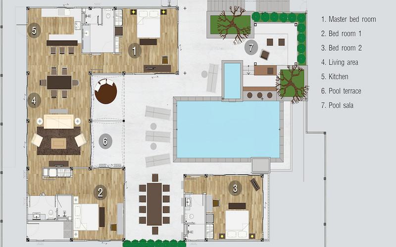Floorplan : 4 Bedroom Private Pool Villa with Partial Seaview